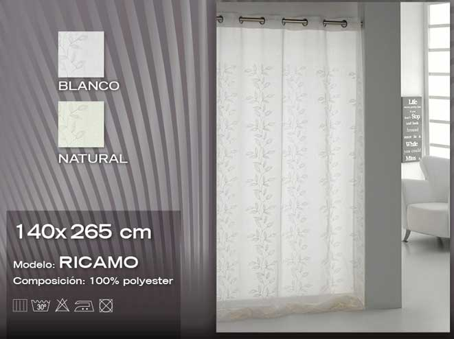 CORTINAS 																					Cortinas 																		RICAMO 140x265 NATURAL CORTINA